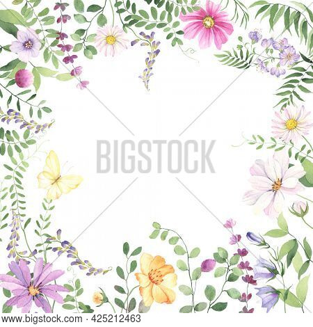 Summer frame of wildflowers, wild green plants and butterfly yellow color. Colorful floral watercolor background for invitation or greeting card, poster, nature banner, square border.