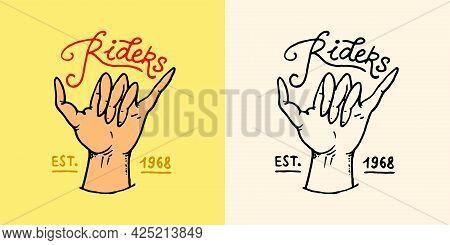 Shaka Hand Emblem. Summer Surf Logo. Surfers Hand Gesture. Surfing The Waves Symbol. Vintage Engrave