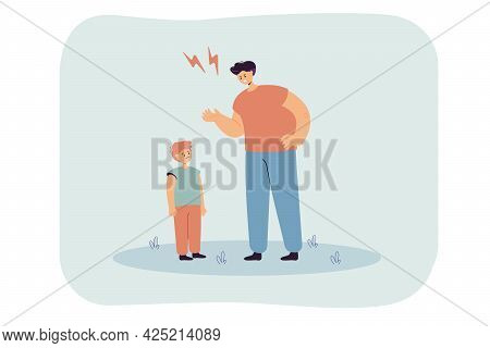 Angry Father Punishing Sad Little Son. Flat Vector Illustration. Parent Bringing Up Child, Strictly