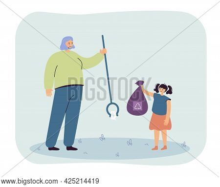 Woman And Little Girl Collecting Trash Together. Flat Vector Illustration. Mom, Daughter Collecting