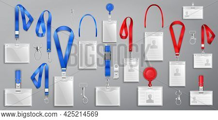 Set Of Realistic Badges Id Cards On Blue And Red Lanyards With Strap Clips, Cord And Clasps Vector I