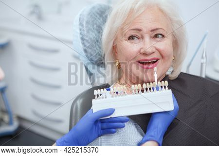 Unrecognizable Dentist Choosing Teeth Whitening Shade For Her Senior Patient, Copy Space