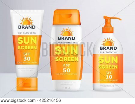 Sunscreen Set Of Realistic Moisturizing Lotion Container Templates. Sun Protection Cream Tube And Bo