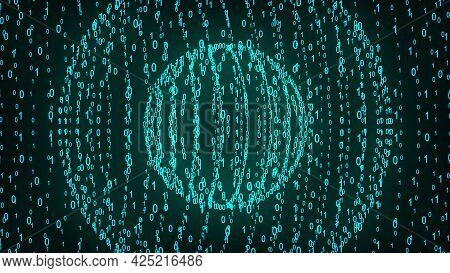 Big And Small Binary Number Spheres, Computer Generated. 3d Rendering Of Binary Code Background With