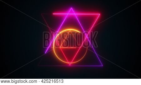 Esoteric 3d Render Triangle With Glowing Lines And Star David. Occult Bright Geometric Pentacle That