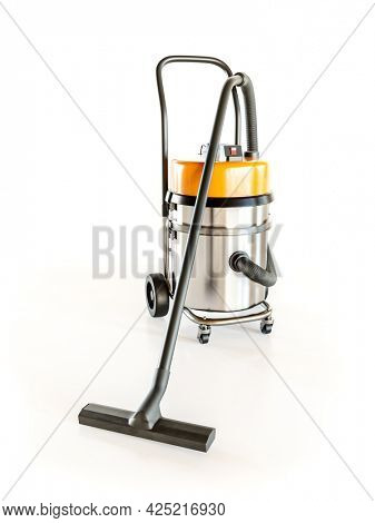 3D rendering of industrial vacuum cleaner on white background