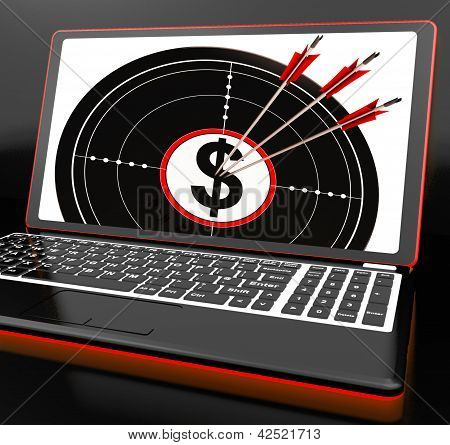 Dollar Symbol On Laptop Showing Investments