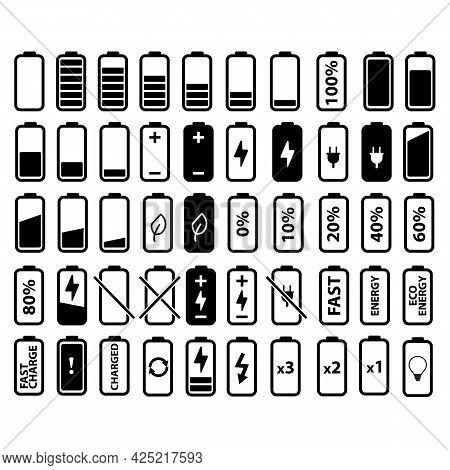 Battery Icons Set On White Background. Battery Charge Indicator Sign. Battery Symbol. Flat Style.