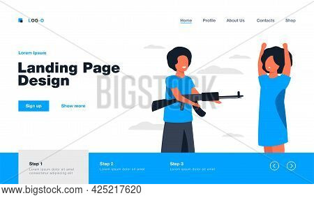 Diverse Kids Playing With Weapon. Boy Aiming Riffle At Black Girl. Flat Vector Illustration. Childho