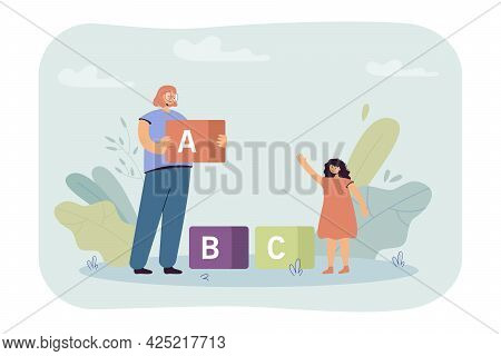 Woman And Little Girl Putting Together Giant Toy Blocks. Flat Vector Illustration. Mom And Daughter