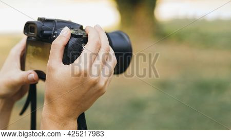 Woman Taking Pictures With Photo Camera2. High Quality Beautiful Photo Concept