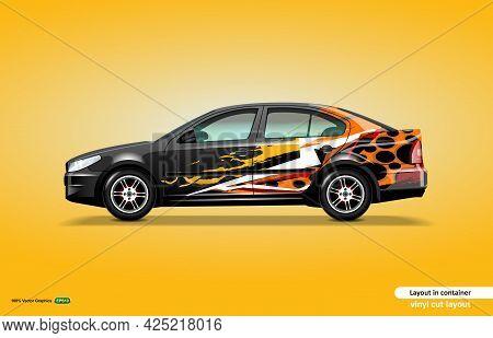 Car Decal Wrap Design With Abstract Color Theme On Black Sedan Car.