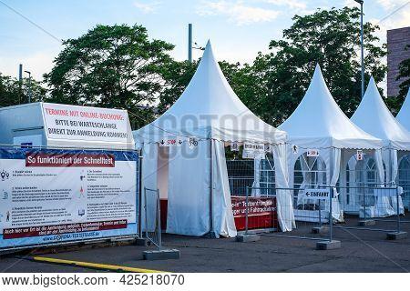 Leipzig, Germany - June 28, 2021: Corona Covid19 Test Center At Leipzig Wilhelm Leuschner Square