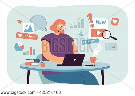 Expert Of Content Analysis Working On Successful Smm Strategy. Flat Vector Illustration. Woman Worki
