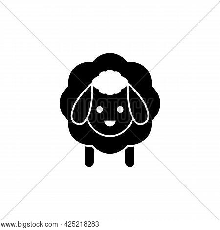 Sheep Icon. Vector Drawing. Lamb Black Silhouette On White Background.