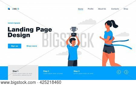 Woman Winning Running Race And Boy Holding Cup. Gold, Jogging, Athlete Flat Vector Illustration. Com