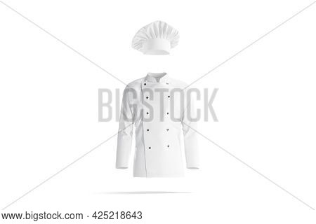 Blank White Chef Hat And Jacket Mockup, Front View, 3d Rendering. Empty Cap And Tunic For Profession