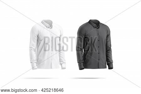 Blank Black And White Classic Shirt Mockup Set, Side View, 3d Rendering. Empty Elegant T-shirt Model