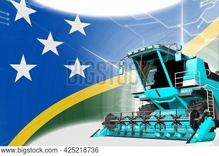 Digital Industrial 3d Illustration Of Blue Advanced Farm Combine Harvester On Solomon Islands Flag -