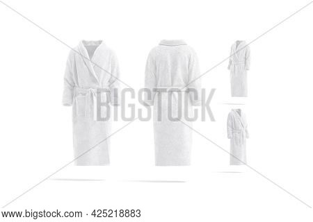 Blank White Hotel Bathrobe Mock Up, Different Views, 3d Rendering. Empty Fleece Wraparound Banyan Mo