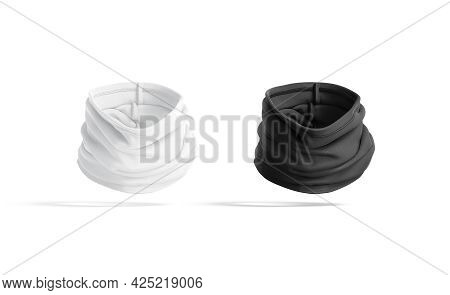 Blank Black And White Folded Neck Gaiter Mockup, No Gravity, 3d Rendering. Empty Protect Fleece Head