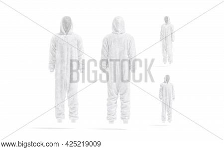 Blank White Plush Jumpsuit With Hood Mockup, Different Views, 3d Rendering. Empty Hooded Homewear Fo