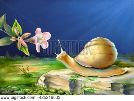 Snail exploring its surroundings and reaching out to a flower. Mixed media illustration.