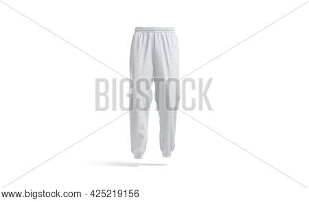 Blank White Sport Sweatpants Mockup, Front View, 3d Rendering. Empty Gray Fleece Or Textile Trackpan