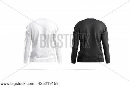 Blank Black And White Women Sweatshirt Mockup, Back View, 3d Rendering. Empty Female Casual Sweat-sh