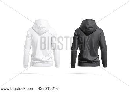 Blank White Women Sport Hoodie Mock Up, Back View, 3d Rendering. Empty Jersey Hooded Tolstovka Mocku