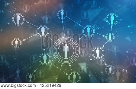 Business Network Concept Background, Social Networks And Interaction Concept, Digital Abstract Techn