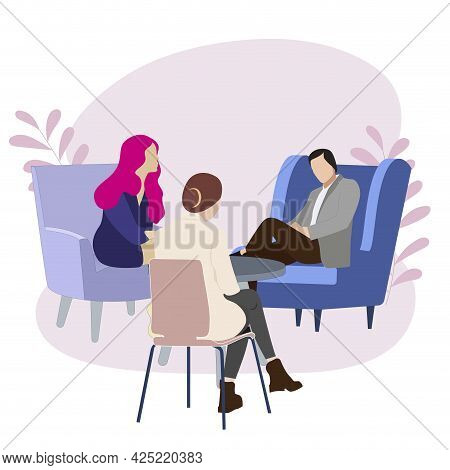 Couple Being Consulted By Psychologist About Divorce, Family Psychotherapia, Vector Relationship Cri