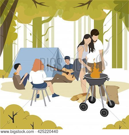 Outdoor Recreation, People Grill Bbq, Camping In Forest. Vector Summer Lunch, Eating And Cooking, Ca