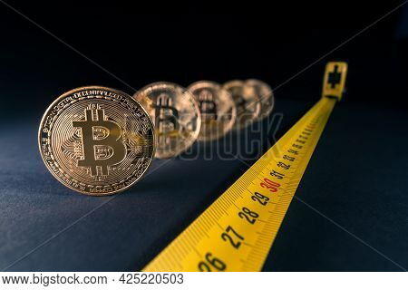 Concept For Bitcoin Crisis, Price Fluctuations, Bitcoin Price Falling Down To 30 Thousands Dollars.