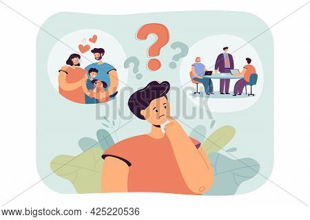 Young Man Thinking About Future. Flat Vector Illustration. Guy Making Difficult Choice Between Happy