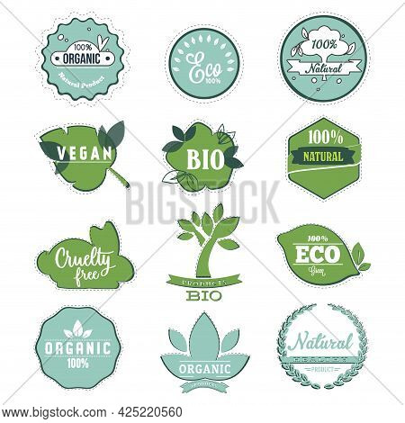 Bio And Eco Label To Organic Product, Eco Friendly Stickers For Food Badge, Nutrition For Vegan, Qua
