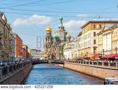 Saint Petersburg, Russia - June 2021: Church Of Savior On Spilled Blood On Griboedov Canal