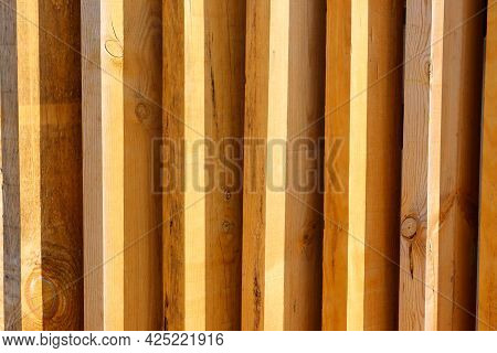 Wood Plank Wall. Wooden Planks Are Inclined