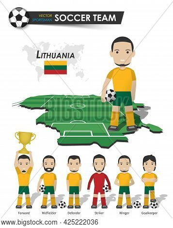 Lithuania National Soccer Cup Team . Football Player With Sports Jersey Stand On Perspective Field C