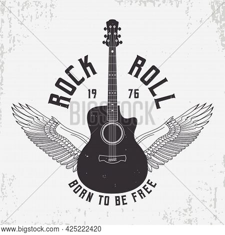 Rock And Roll T-shirt Design With Guitar And Wings. Typography Graphics For Tee Shirt With Slogan An