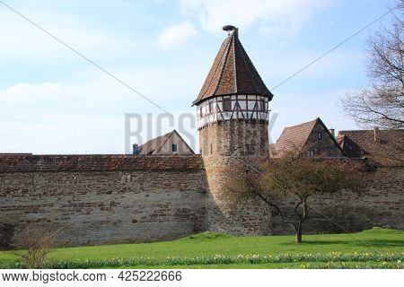 City Wall With Watchtower On The City Wall In Weil Der Stadt