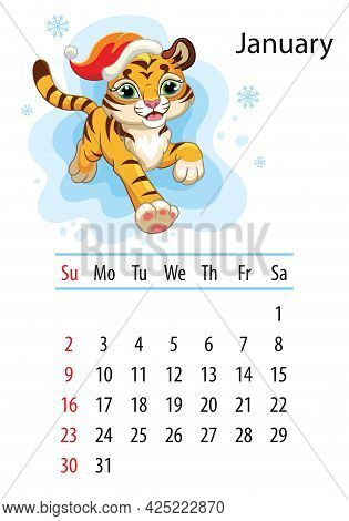 Wall Calendar Design Template For January 2022,year Of Tiger According To The Chinese Or Eastern Cal
