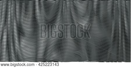 Monochrome Gray Mesh Abstract Texture With Wavy Shapes And Linear Moire Effect. Background Saver For