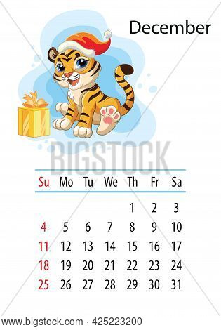 Wall Calendar Design Template For December 2022, Year Of Tiger According To The Chinese Or Eastern C