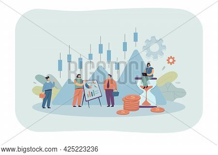 Business People With Stock Market Candlestick Chart. Company Characters Working On Finance Plan, Ana