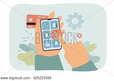Hand Of Customer Holding Smartphone And Making Purchase In App. Man Choosing Product Category In Onl