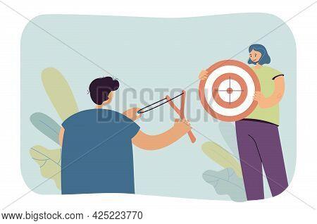 Boy Aiming His Slingshot At Target That Girl Holding. Flat Vector Illustration. Boy Holding Slingsho