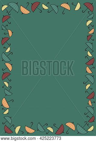 Frame Of Umbrellas Fitted To A4 Card. Different Sizes Umbrella Frame In Autumn Colours- Orange, Gree