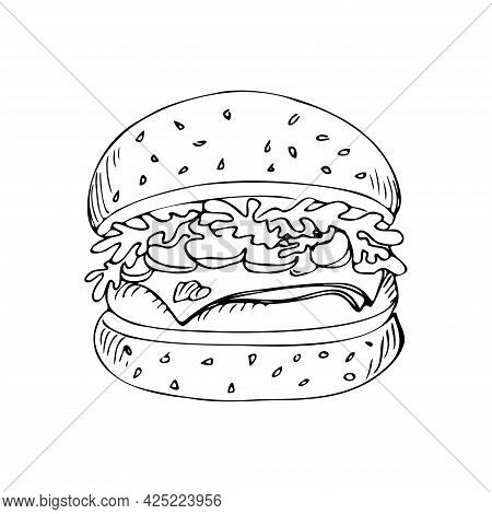 Hamburger With Beef Cutlet Mushrooms And Green Salad In A Bun With Sesame Seeds