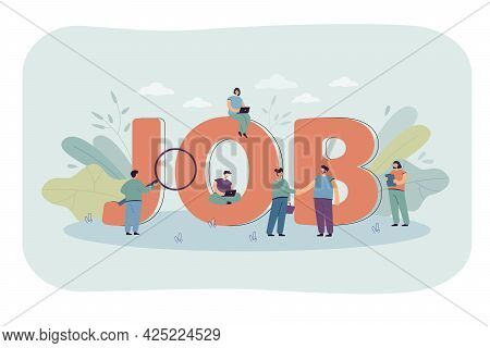 Business People Searching For Jobs. Huge Job Word, Persons With Career Skills, New Human Resources F
